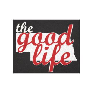 Nebraska - The Good Life on black canvas