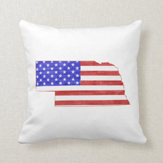 Nebraska USA flag silhouette state map Throw Pillow