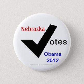 Nebraska Votes Obama 2012 Pinback Button