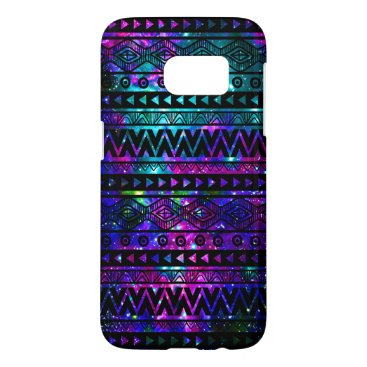 Aztec Themed Nebula Aztec Pink Teal Blue Tough Galaxy S7 Case