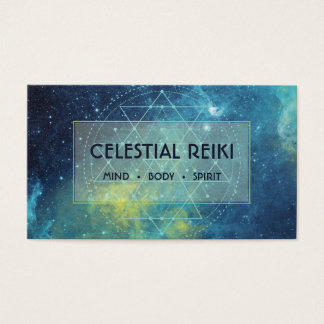 Nebula Galaxy Modern Watercolor | Reiki Holistic Business Card