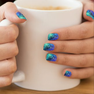 Nebula green blue flames psychedelic minx nail wraps