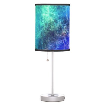 Nebula Green Blue Flames Space Desk Lamp by RainbowChild_Art at Zazzle