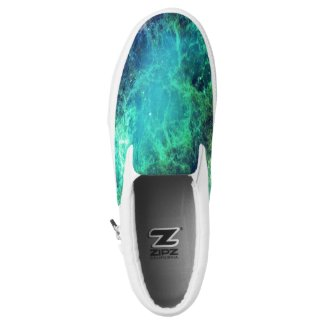 Nebula Green Blue Flames space Slip-On Sneakers