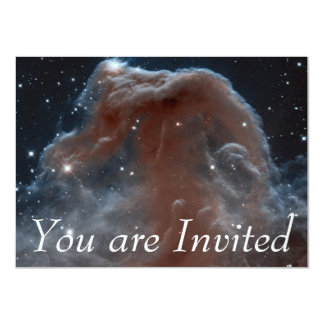 "Nebula in shape of Horsehead in Pink 4.5"" X 6.25"" Invitation Card"