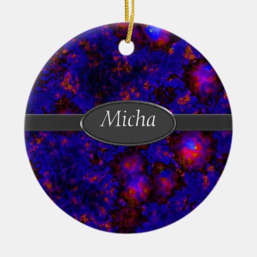 Nebula Space Explosion Monogram Double-Sided Ceramic Round Christmas Ornament