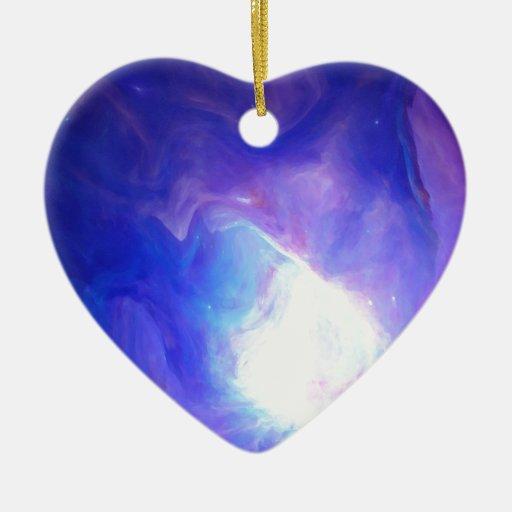 Nebulosa 22 adorno navideño de cerámica en forma de corazón