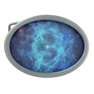 Nebulosa azul abstracta hebilla de cinturon oval