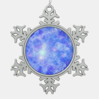Nebulosa azul adorno de peltre en forma de copo de nieve