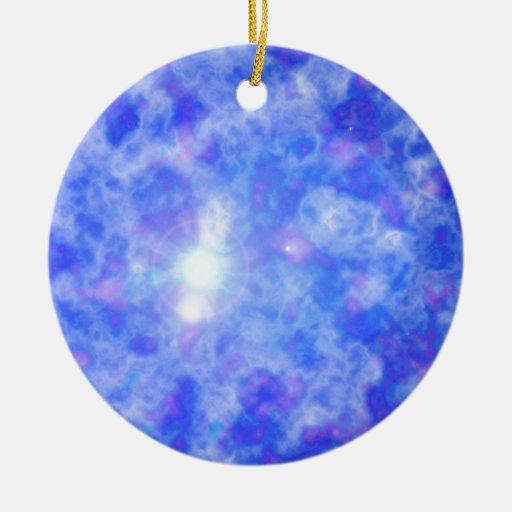 Nebulosa azul adorno navideño redondo de cerámica