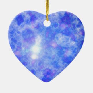 Nebulosa azul adorno de cerámica en forma de corazón