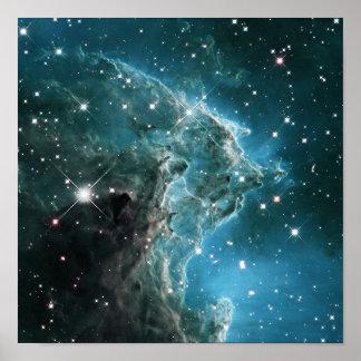 Nebulosa coloreada azul de la cabeza del mono del