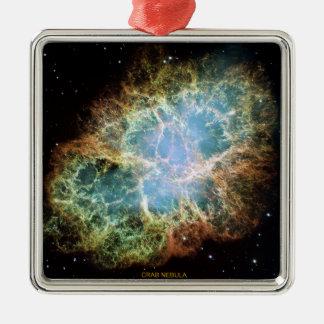 Nebulosa de cangrejo adorno navideño cuadrado de metal