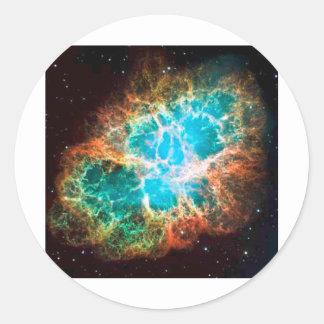 Nebulosa de cangrejo inminente pegatina redonda