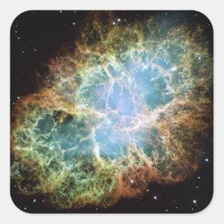 Nebulosa de cangrejo pegatina cuadrada