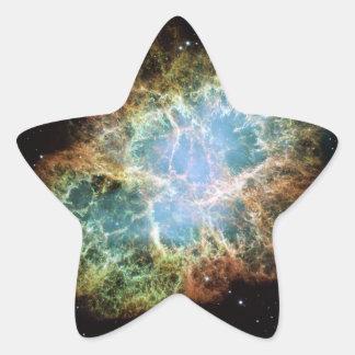Nebulosa de cangrejo pegatina en forma de estrella