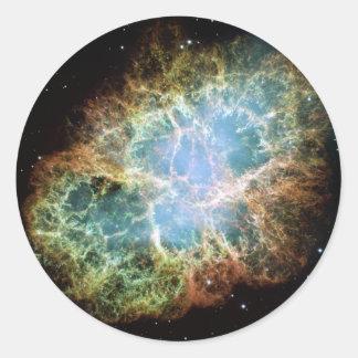 Nebulosa de cangrejo pegatina redonda
