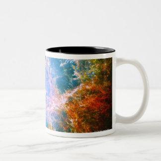 Nebulosa de cangrejo taza de café de dos colores