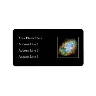 Nebulosa de cangrejo - telescopio de Hubble Etiqueta De Dirección