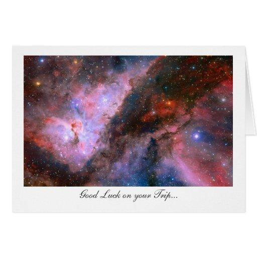Nebulosa de Carina - buena suerte en su viaje Tarjeta De Felicitación