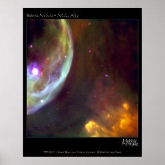 Nebulosa de la burbuja - telescopio de NGC 7635 Hu Póster