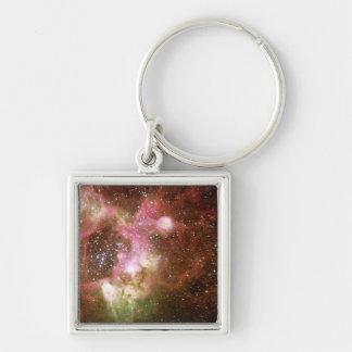 Nebulosa de la emisión N44 Llavero Cuadrado Plateado