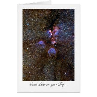 Nebulosa de la pata de los gatos - buena suerte en tarjeta de felicitación