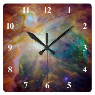 Nebulosa de Orión con los números blancos Reloj Cuadrado