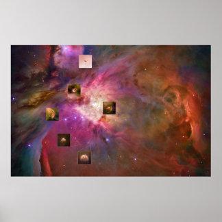 Nebulosa de Orión con los puntos culminantes de Póster