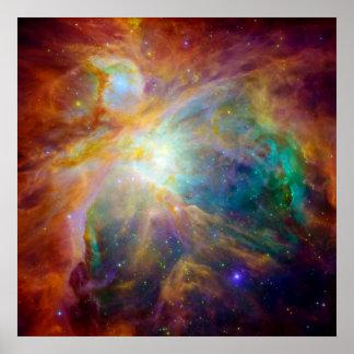 Nebulosa de Orión telescopios de Hubble y de Spit Poster