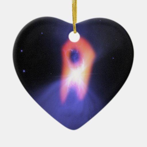 Nebulosa del bumerán adorno de cerámica en forma de corazón