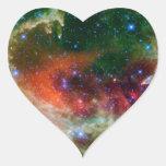 Nebulosa del corazón y del alma pegatina en forma de corazón