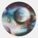 Nebulosa del espacio y pegatinas de las estrellas pegatinas redondas