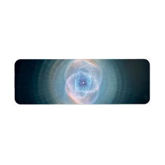 Nebulosa del ojo de gato azul etiqueta de remite