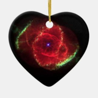 Nebulosa del ojo de gato adorno de cerámica en forma de corazón