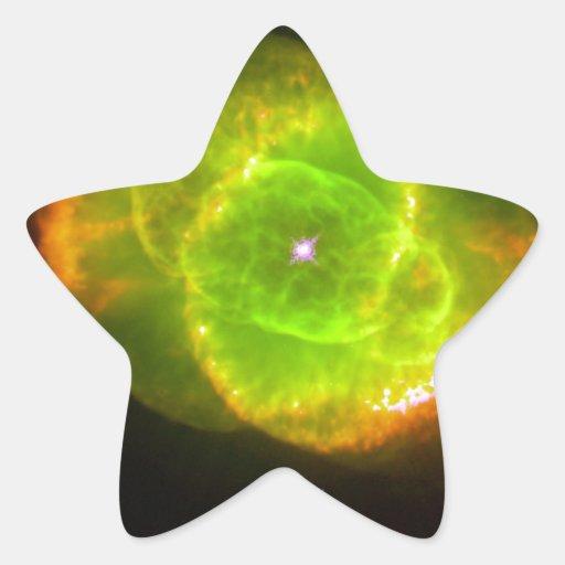 Nebulosa del ojo de gato pegatina en forma de estrella