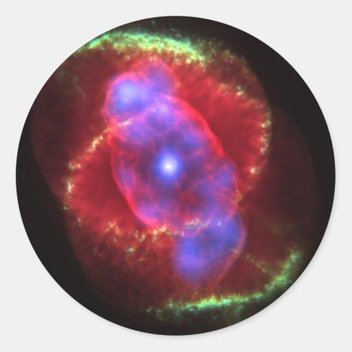 Nebulosa del ojo de gato pegatina redonda