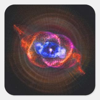 Nebulosa del ojo de gatos pegatina cuadrada