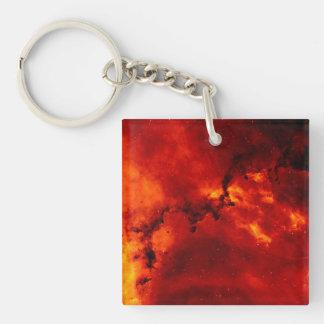 Nebulosa del rosetón llavero cuadrado acrílico a una cara