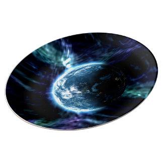 Nebulosa estrellada de la aurora del espacio plato de cerámica