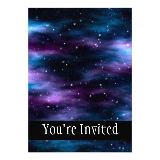Nebulosa fantástica del espacio del viaje invitaciones personales