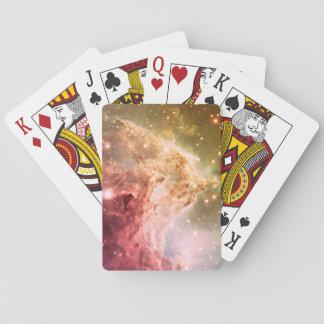 Nebulosa hermosa anaranjada rosada soñadora de barajas de cartas