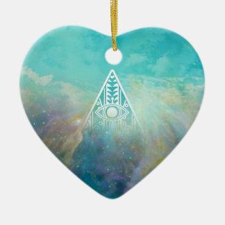 Nebulosa impresionante de Orión del triángulo de Adorno Navideño De Cerámica En Forma De Corazón