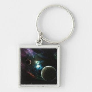Nebulosa Llavero Cuadrado Plateado