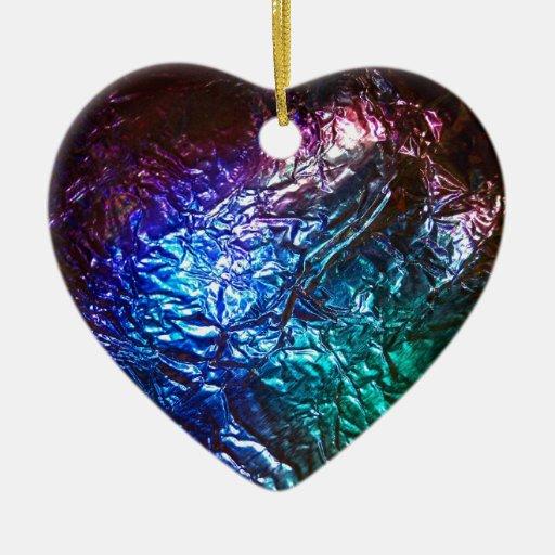 Nebulosa metálica adorno de cerámica en forma de corazón