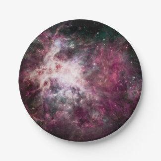 Nebulosa púrpura hermosa plato de papel de 7 pulgadas