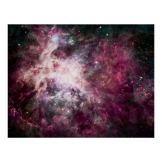 Nebulosa púrpura hermosa póster