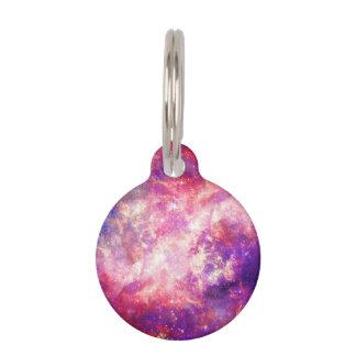 Nebulosa rosada y azul colorida de la galaxia placas para mascotas