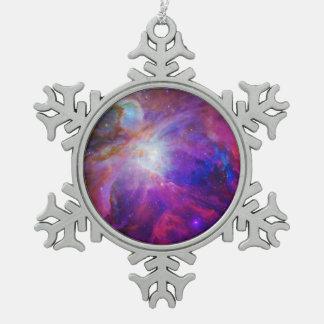 Nebulosa teñida rosa de Orión Adorno De Peltre En Forma De Copo De Nieve