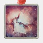 Nebulosa trífida adorno navideño cuadrado de metal